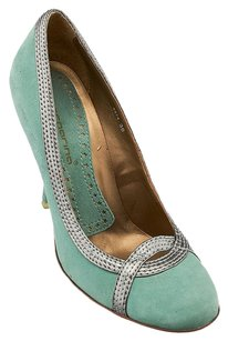 Fornarina Suede Round-toe Teal Silver Heels Blue Pumps