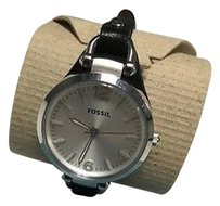 Fossil Fossil Black Silver Leather Stainless Steel Skinny Band Round Face Watch B3274