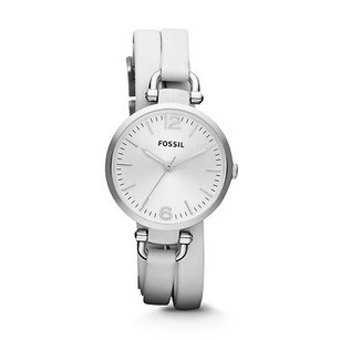 Fossil Fossil Georgia Stainless Steel White Leather Ladies Watch Es3246 Broken Movement