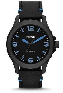 Fossil Fossil Nate Black Ip Leather Mens Watch Jr1446