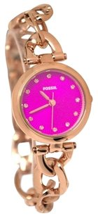 Fossil Fossil Olive Pink Analog Glitz Rose Gold Steel Bracelet Women Watch NEW