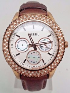 Fossil Fossil Stella Gmt Rose Gold Tone Stainless Steel Ladies Watch Es3104