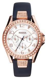 Fossil Fossil Women's Riley Navy Leather Strap Watch 38mm ES3887