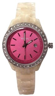 Fossil Fossil Womens Watch With Hot Pink Face Es-2672 Needs Battery