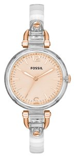 Fossil Georgia Rose Dial Clear Lucite Strap Ladies Watch