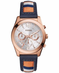 Fossil New! Fossil Perfect Boyfriend Multifunction Striped Leather Watch