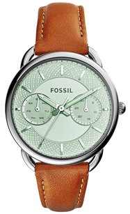 Fossil New! Fossil Women's Tailor Tan Leather Strap Watch 34mm ES3977