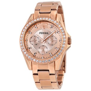 Fossil New Ladies Riley Multifunction Rose Gold-plated Watch