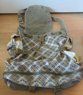 Free People We The Unisex In Cream Aqua Taupe Plaid Backpack