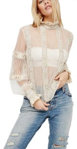 Free People Beaded Top Ivory/ green ties in back