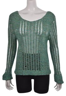 Free People People Womens Teal Blue Boat Neck Speckled Cotton Casual Sweater
