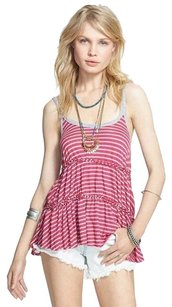 Free People Florence Striped Ruffle Top pink gray
