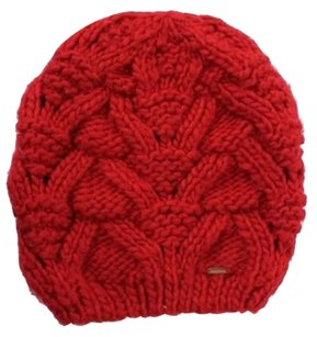 Free People People Red Chunky Knit Stitch Beanie Cap 0s