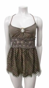 Free People Cocoa Lace Trim Empire Brown Halter Top