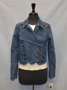 Free People Bo Denim Military Band Womens Jean Jacket