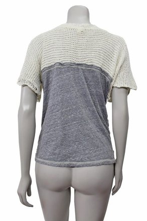 9f15df9635a115 free shipping Free People We The Soar Above Sweater Eagle Print Crochet Knit  Top Beige Gray