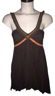 Free People Linen Top Brown / Orange Trim