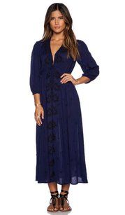 Blue Maxi Dress by Free People Embroidered Fable Maxi