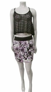 Free People Abstract Floral Print Mini Skirt Multi-Color