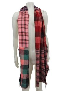 Free People People Plaid Fringe Scarf Jewel Trim Pink Combo One