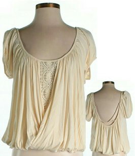 Free People Scoop Back Lace Trim Top Beige