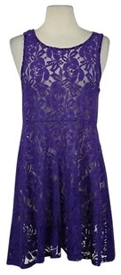 Free People Womens Lace Sleeveless Floral Above Knee Sheath Dress