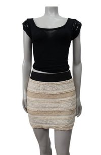 Free People Lace Textured Mini Skirt nude black