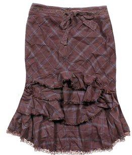 Free People Tiered Ruffle Plaid Skirt