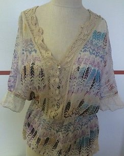 Free People People P Polyester Sheer Boho Chic Peasant Short Batwing Sleeve F327 Top Multi-Color