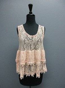 Free People People Sleeveless Woven Scoop Neck Tiered Floral Sm10046 Top Peach
