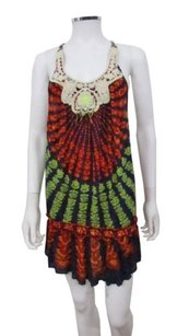 Free People short dress Multi-Color People Crochet Neckline Rope Straps Printed Tunic on Tradesy