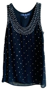 French Connection Beaded Viscose Camisole Top Deep Blue