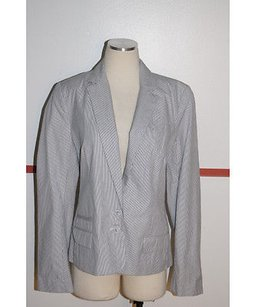 French Connection Navy White Pinstriped Button Blazer Cotton Multi-Color Jacket