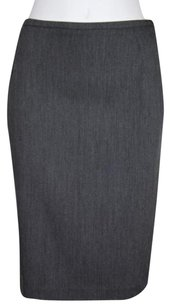 French Connection Womens Solid Pencil Straight Polyester Blend Skirt Gray