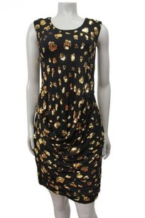 French Connection Galaxy Sequin Black Gold Dress