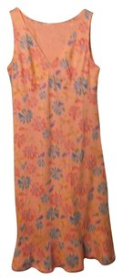 Light Orange Flower and Fish Accents Maxi Dress by Fresh Produce Sleeveless Fitted Bustline Ruffle Hem