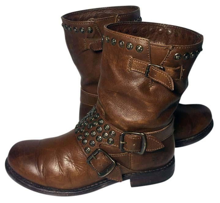 Frye 76795 Jenna Studded Motorcycle Women's 6 5 Brown Boots