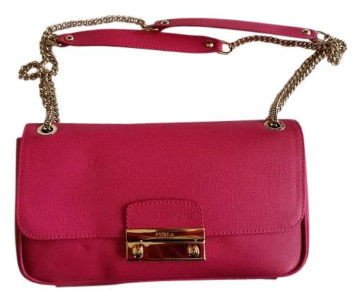 Furla Hot Pink Saffiano Leather Julia Shoulder Bag