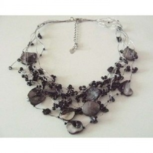 Multistranded Summer Necklace Black Nugget Shell & Beads Necklace
