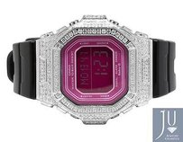 G-Shock Casio Ladies Iced Out Pink Dial Baby G-shock Simulated Diamond Watch 5601-1d