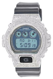 G-Shock Custom G Shock Watch Dw6900mf-2 Simulated Diamonds Digital Custom White Bezel