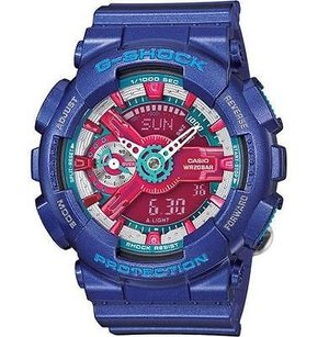 G-Shock G Shock Watch Gmas110hc-2a Womens Blue Red Analog Digital World Time Gshock