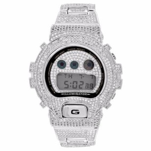 G-Shock Gshock Dw6900 Full Iced Out 14k Rhodium Plated Simulated Diamonds Mens