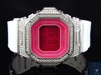 G-Shock Ladies Iced Out Pink Dial Square Baby G-shock Simulated Diamond Watch 5600