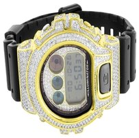 G-Shock Mens G-Shock Watch Gold Finish Lab Diamond Digital Alarm & Light Shock Resistant