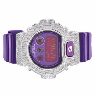 G-Shock Purple G-shock Dw6900cc-6ds Simulated Diamonds Iced Out Purple Dial Digital Mens