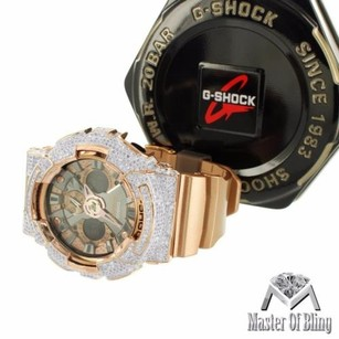 G-Shock Rose Finish G Shock Watch Da200gd Iced Out Bezel Silicon Band Multi Display