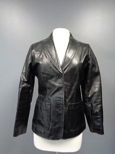 Gap Solid Button Collared V Neck Leather Sma8539 Black Jacket