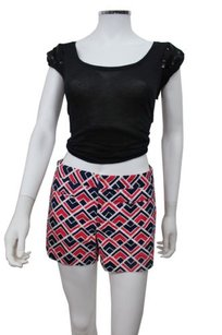 Gap Clean Front Printed Geometric Blue Shorts Pink