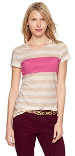 Gap Striped Bold Stripe T Shirt Tan, Pink and White